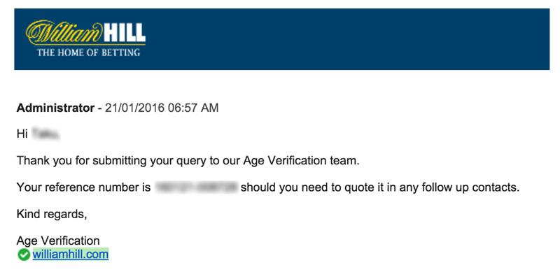 ウィリアムヒル年齢確認メール